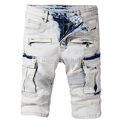 d7631e3b Men Blue Cargo Denim Shorts Knee Length Short Vintage Washed Faded ...
