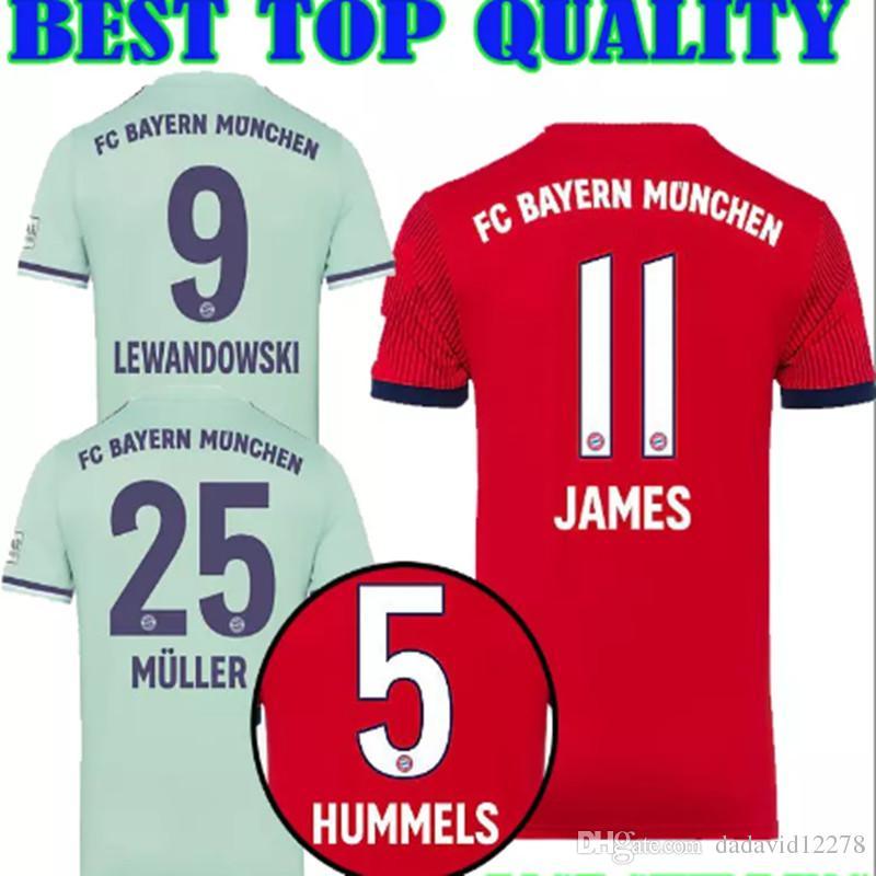 2019 Top Thailand Bayern Munich Jersey 11 JAMES RODRIGUEZ Soccer Shirt 2018  2019 9 LEWANDOWSKI 25 MULLER KIMMICH 18 19 HUMMELS Football Shirt From ... f6db58c6f