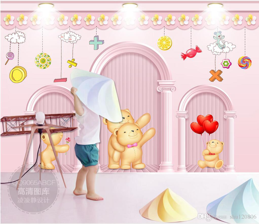 3d room wallpaper on a wall custom photo mural Cartoon Bear Roman Column Pink Children's Room 3d wall murals wallpaper for walls 3 d