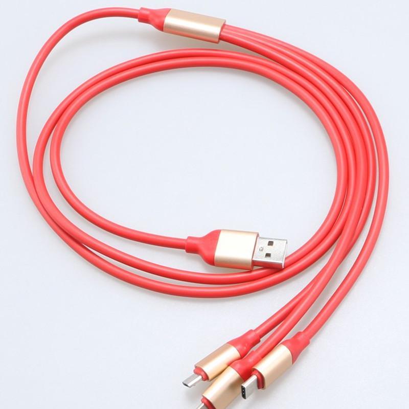 3 em 1 USB múltipla rápido cabo de carregamento com tipo C Micro V8 Conectores para Samsung Nota 10 S10 Além disso Huawei Companheiro 30