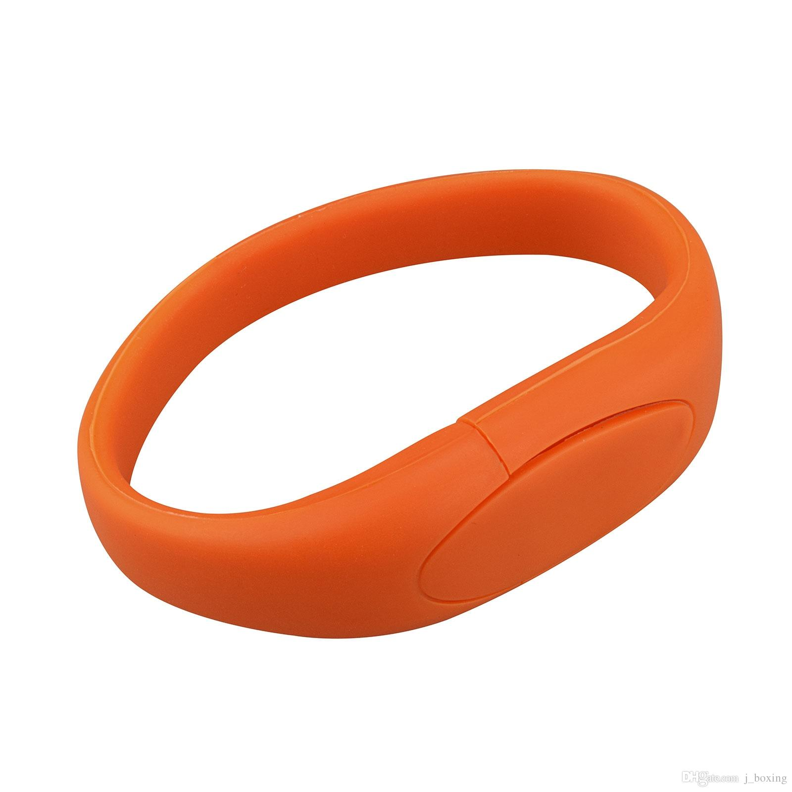 Orange Silicon Wristband Design 8GB 16GB 32GB 64GB USB 2.0 Memory Stick USB Flash Drives Thumb Pen Drives for PC Laptop Tablet Thumb Storage