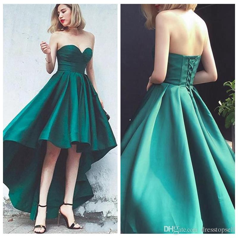 270adc2b507b3 Simple Green Short Front Long Back Prom Dresses 2019 Sweetheart Lace Up  Corset Bodice High Low Evening Party Gowns High Street Prom Dresses Junior  Prom ...