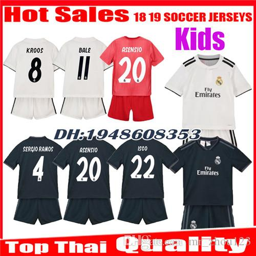 e6f022edc 2019 Kids 2018 2019 Real Madrid Soccer Jerseys 18 19 Home Away Third Boy  ISCO ASENSIO BALE KROOS Child 3rd Red Children Uniforms Football Shirts  From ...