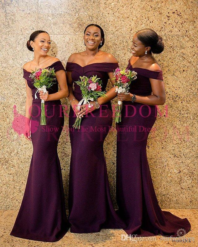 213b45e3711 2018 South Africa Style Mermaid Bridesmaid Dresses Off The Shoulder Satin  Sweep Train Maid Of Honor Wedding Guest Gowns Formal Wear New Kids  Bridesmaid ...