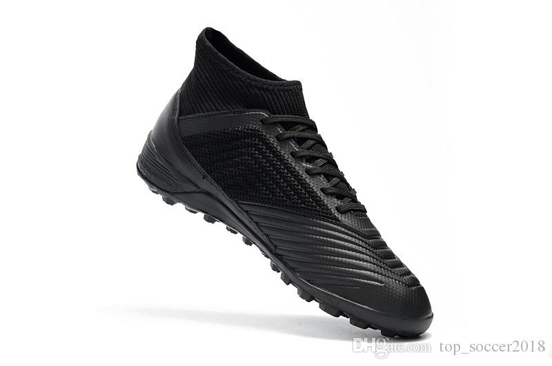 28a1a596b 2019 Full Black Messi Soccer Cleats Mens Slip Up 100% Original Predator  Tango 18.3 TF Indoor Soccer Shoes From Top soccer2018