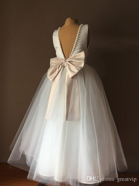 BELLA Ivory Satin Tulle Flower Girl Dresses Champagne Bow Dress Wedding  Bridesmaid Dress Princess Pageant Party Gowns Robes De Fête Bridal Dresses  Cocktail ... 90cd366dd