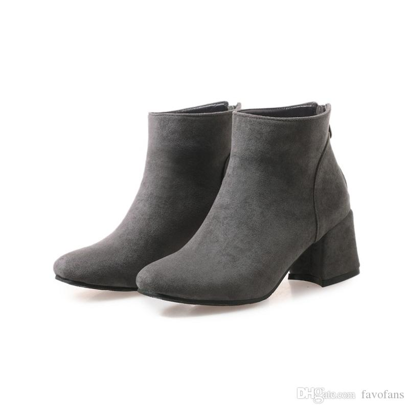 0e85185a561 Favofans Hot Sale Womens Ladies Square Toes Chunky Heel Zip Casual Ankle  Boots Shoes FF-B1031 Black Brown Beige Grey