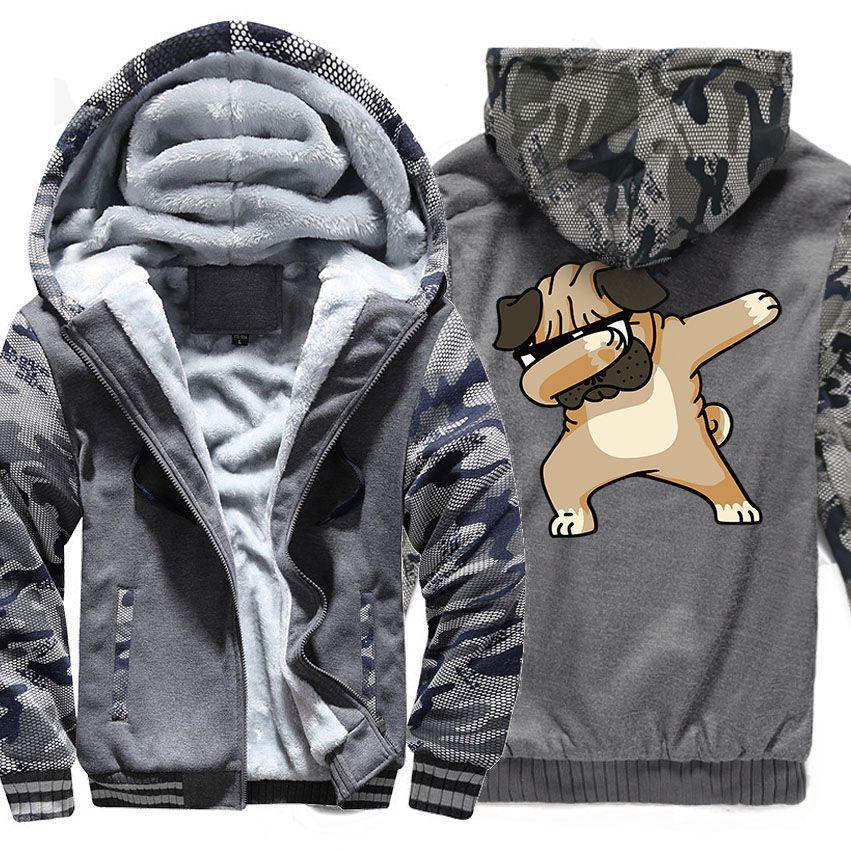 082c3db53a0 2018 Autumn Winter Thick Hoodies For Men Zipper Coats 2018 New Hot Sale  Dabbing Pug Crazy Dog Funny Hoody Men S Sweatshirt Jackets From Douban