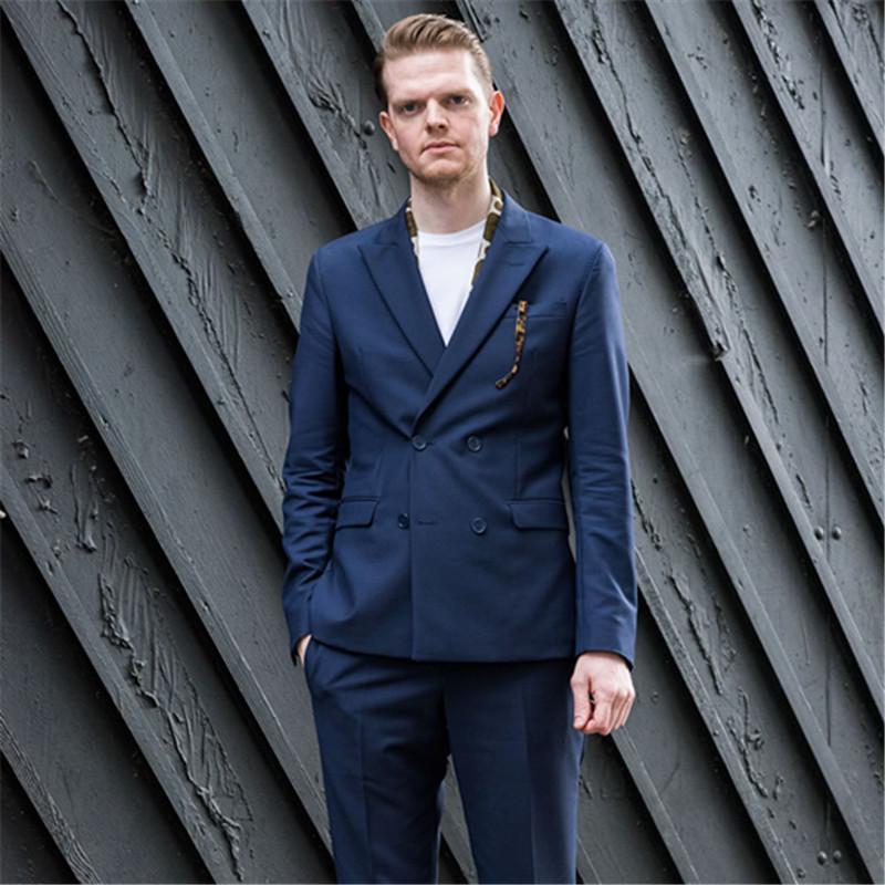 05b838fb225d6 Acheter Derniere Casual Bleu Marine Bluy Eté Hommes Costumes 2 Pièces Veste  + Pantalon + Cravate Costume Homme Terno Masculino Sur Mesure Slim Fit  Blazer De ...