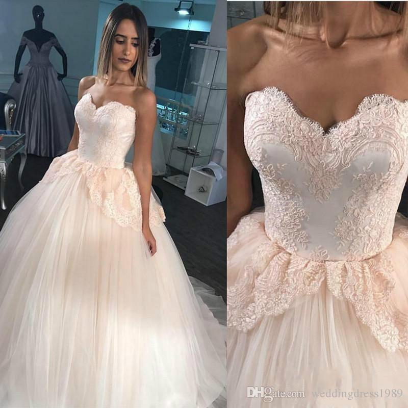Discount stunning sweetheart lace peplum wedding dresses blush pink discount stunning sweetheart lace peplum wedding dresses blush pink tulle country train 2018 plus size vestido de noiva bridal gown ball for bride mermaid junglespirit Choice Image