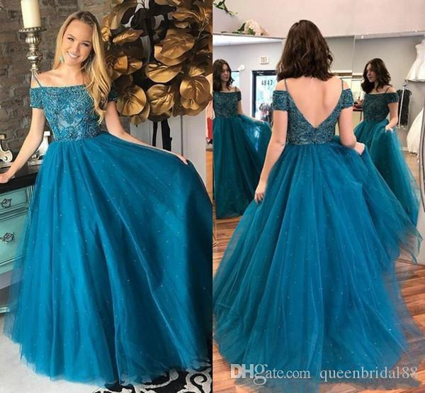 Custom Maded Spaghetti Bateau Neck Prom Dresses Beaded Backless Long Tulle A Line Dress Evening Gowns