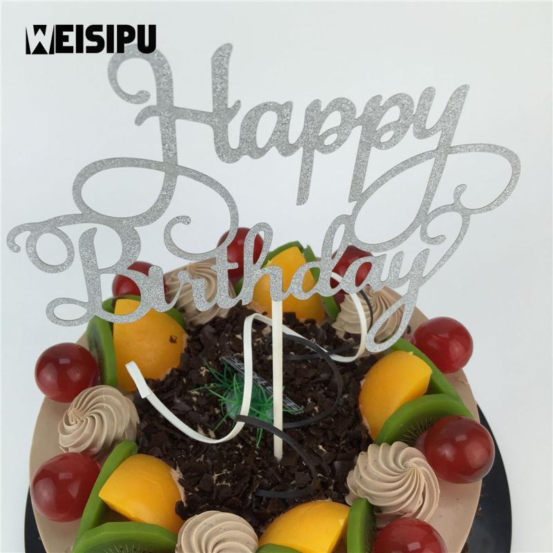 Acquista 1 Pz Glitter Di Alta Qualità Buon Compleanno Cupcake Cake
