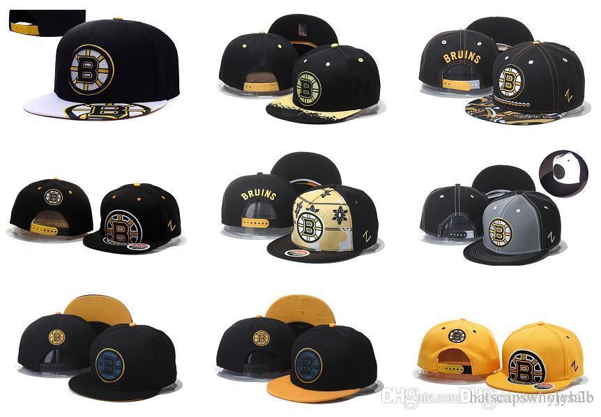 4c1f1ff01 New Men s Boston Bruins Snapback Hats Team Logo Embroidery Sports  Adjustable Ice Hockey Caps Hip Hop Flat Visor Hats