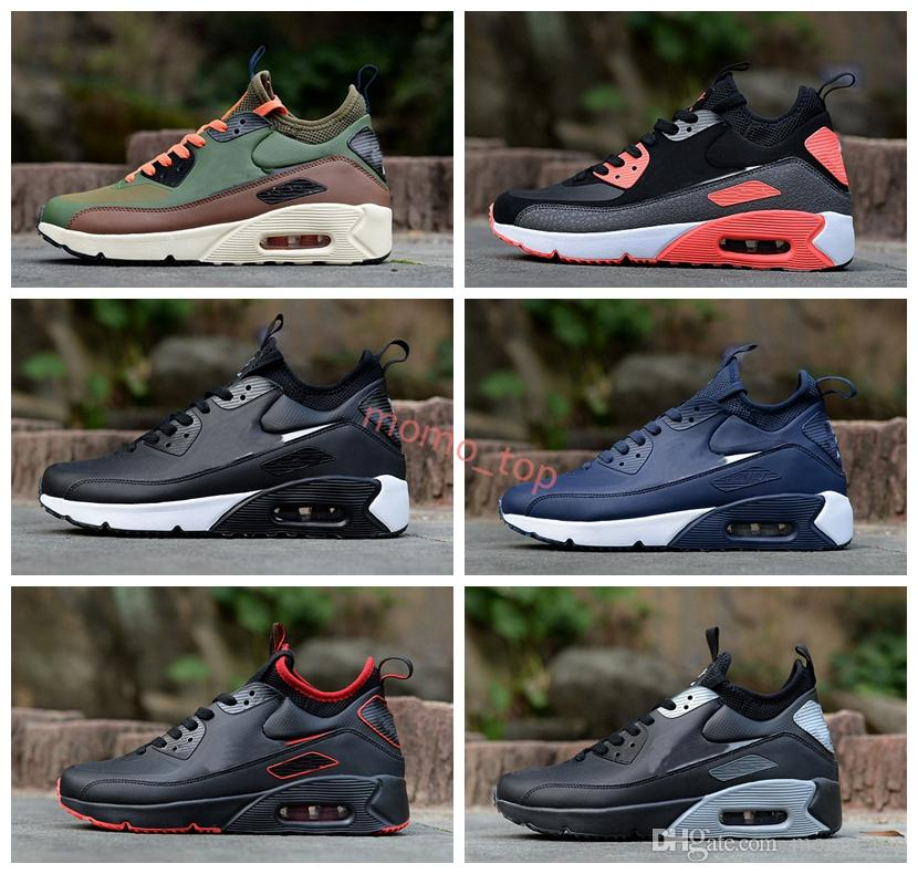 New Arrivals 2018 Brand 90 Mid Winter Mens Athletic Sports Training Sneakers Running Shoes 90s Men Trainer designer Shoe 40 45
