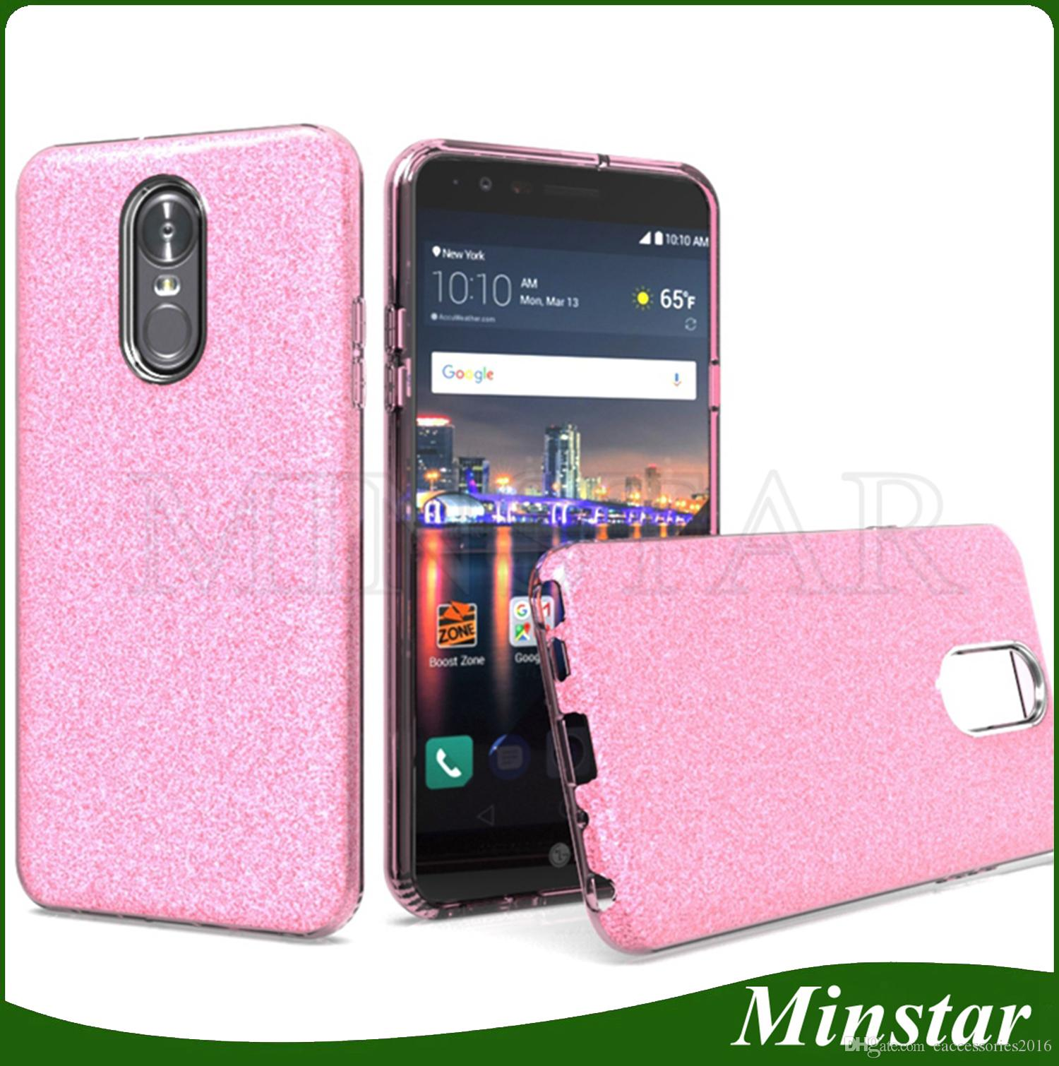 new arrival 20a5f 697bd For ZTE Blade Z Max Z982 Zmax Pro Z981 Trio Z833 Metropcs Hot Selling in  Amazon Transparent TPU PC Glitter Shining Phone Case Cheap Covers