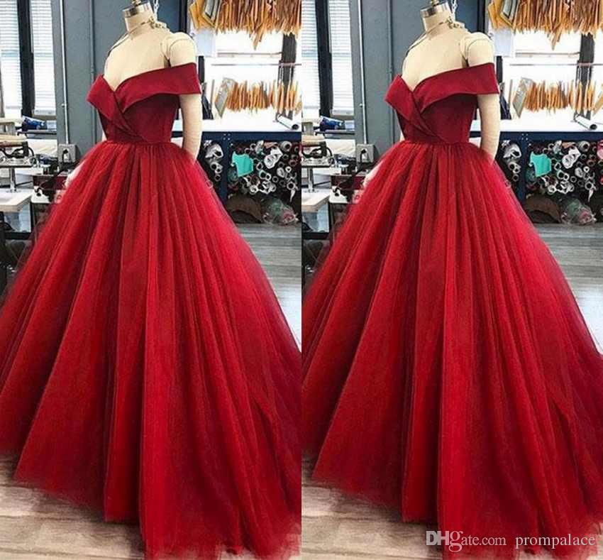 06edc5d5efacd Modern Dark Red Formal Prom Dresses Elegant Off The Shoulders Capped  Sleeves Satin Top Tulle Sweep Train Popular Evening Prom Gowns