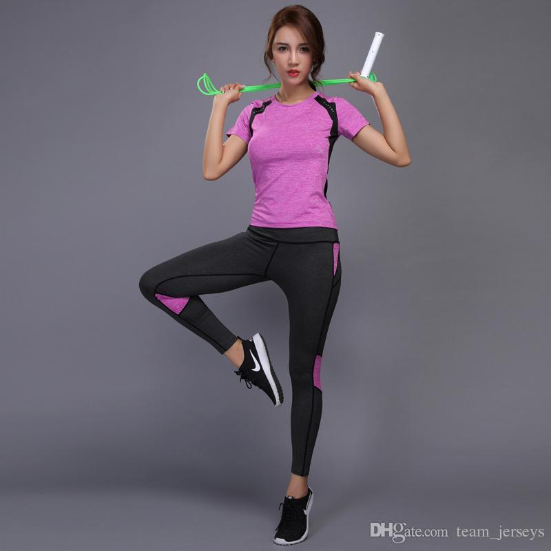 Acheter 2 Pièces Femmes Yoga Ensemble Sécurité Réfléchissante Gym Fitness  Vêtements Tennis Shirt Pantalon De Course Collants Jogging Entraînement De  Yoga ... 88ddb42878a