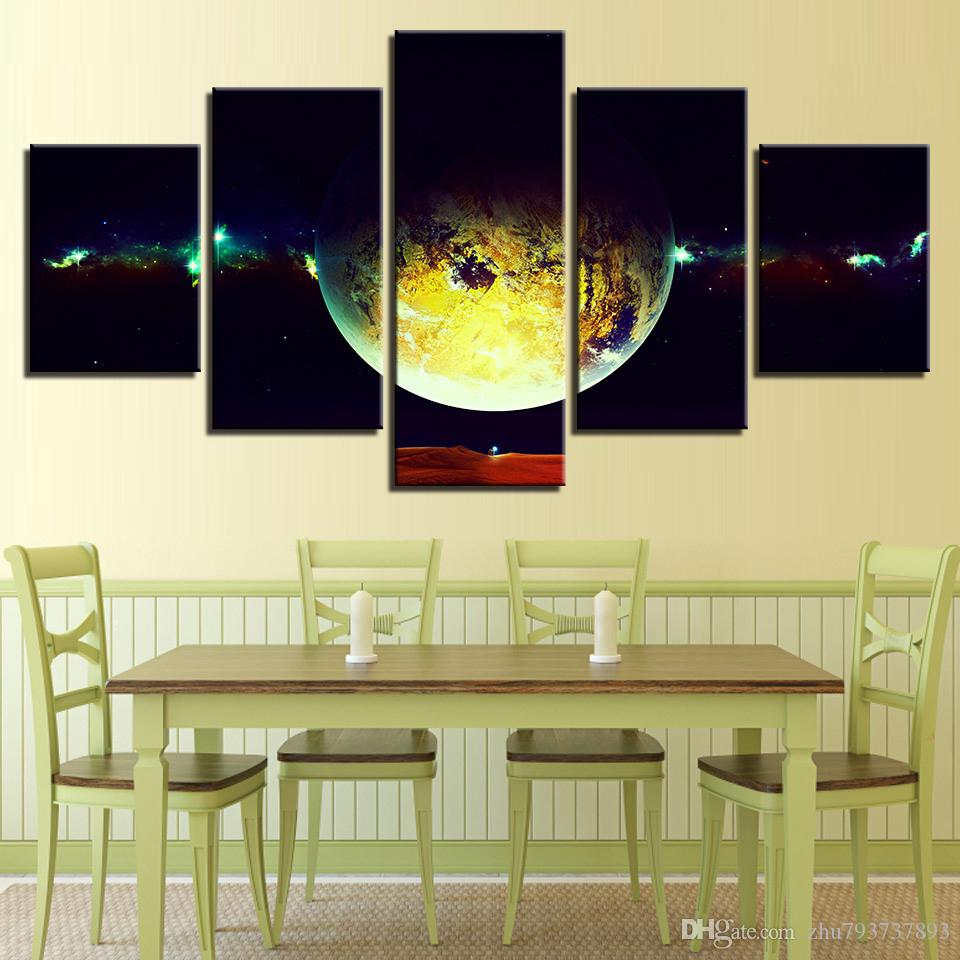 2018 Modular Wall Art Outer Space Earth Painting Canvas Poster Hd ...