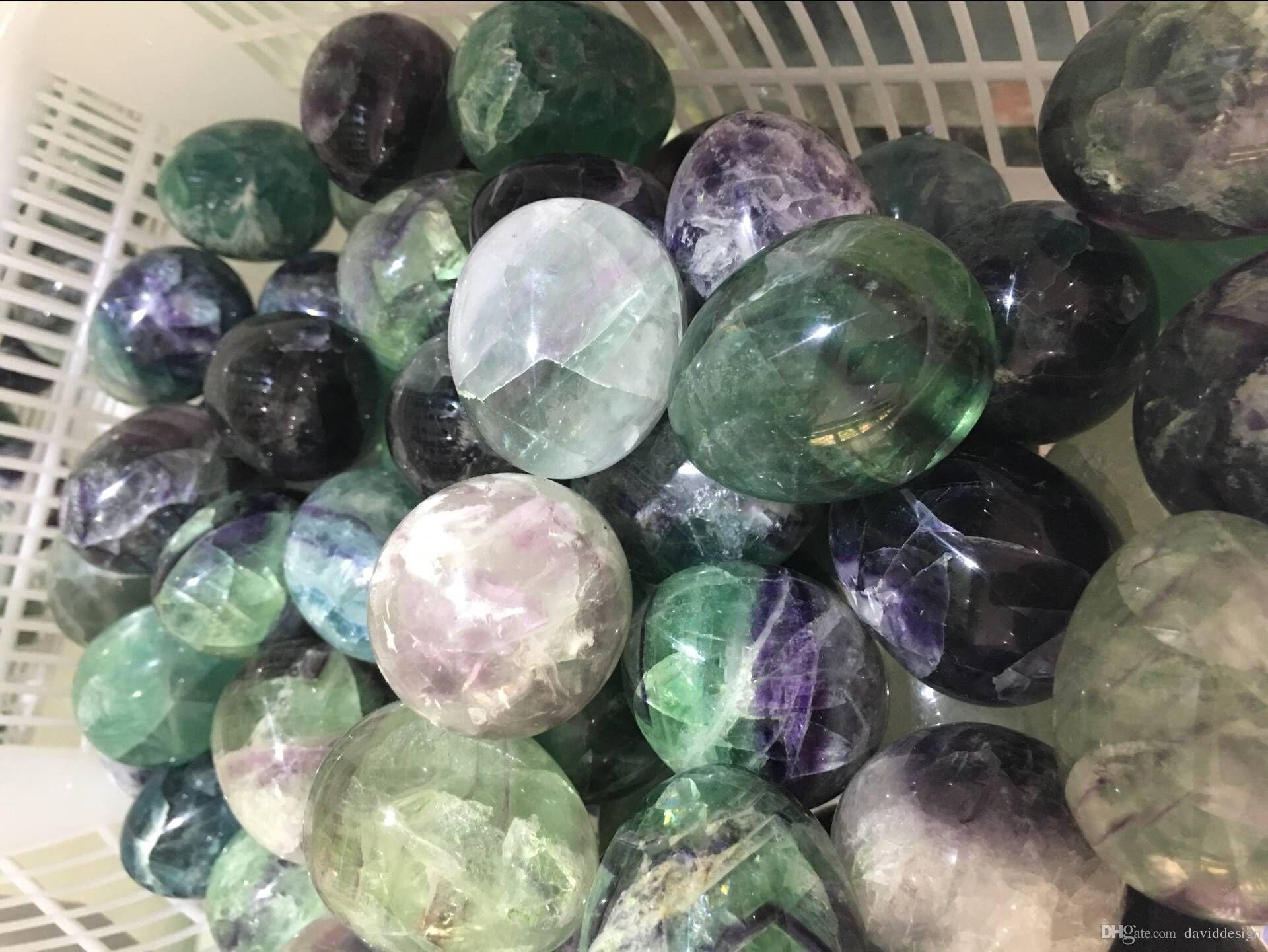 3 PCs Dropshipping Beautiful Natural Fluorite quartz crystal egg natural  gemstone crystal yoni egg reiki healing free shipping