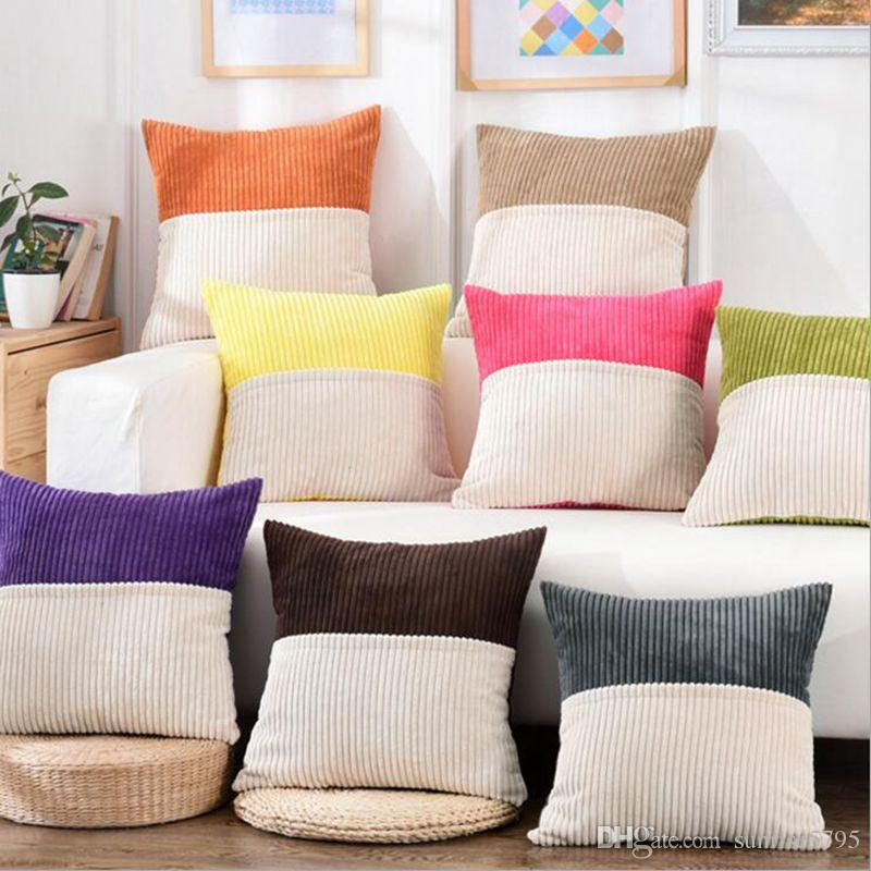 Dual Color Soft Corduroy Cushion Cover Pink Green Sofa Couch Chaise  Almofada Modern 45cm Throw Pillow Case Candy Colors Cojines Cushions For  Wicker ...