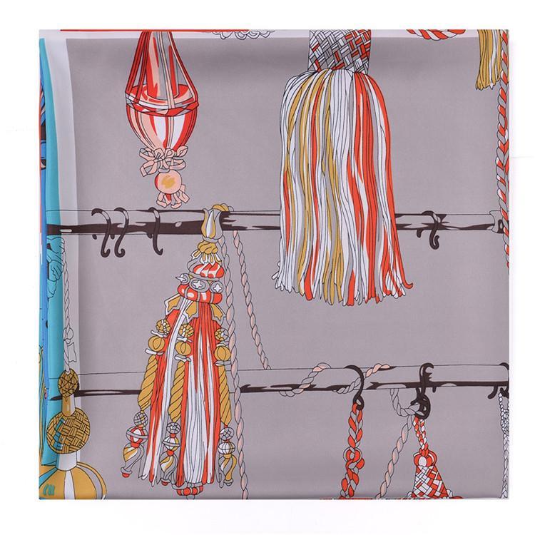 New 130*130cm Fashion Silk Scarf Women Large Shawls French Tassels Printing Square Scarves Femme Neckerchief Headband