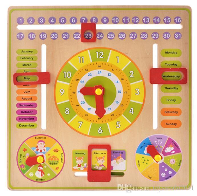 Calendario Legno Bambini.Orologio Da Parete Multifunzionale In Legno Orologio Da Appendere Da Parete Per Bambini Giocattoli Educativi Per Bambini Impara Il Calendario Tempo
