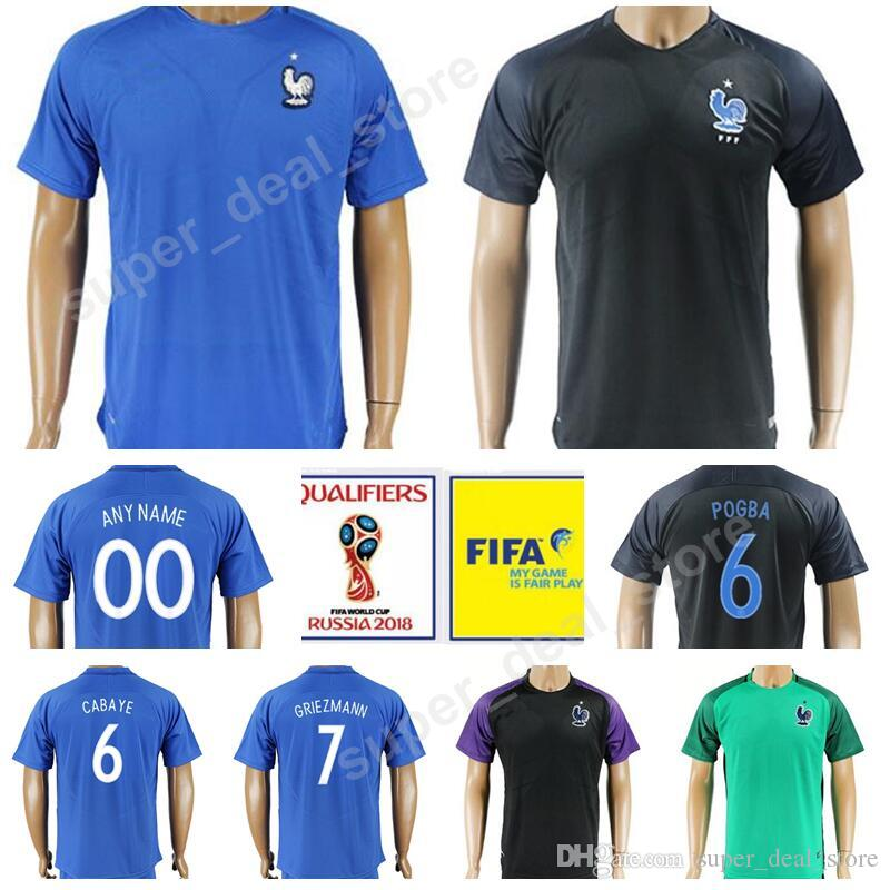 9743c577f Men France Soccer Jersey French Football Shirt 2018 World Cup Thai 8 PAYET  11 DEMBELE 4 VARANE 10 ZIDANE 19 POGBA 7 GRIEZMANN 10 MBAPPE