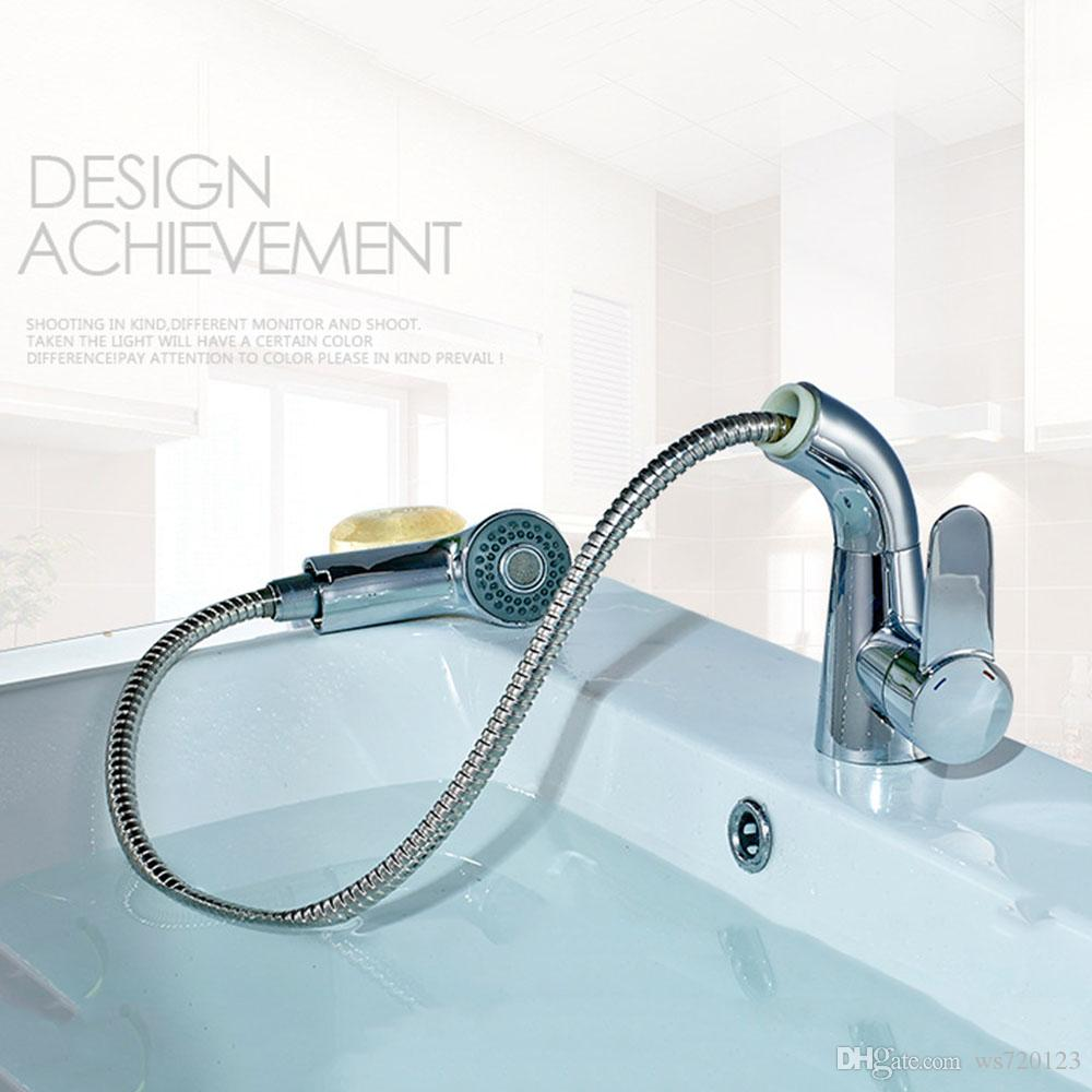 Chrome Pull out Bathroom Vessel Sink Faucet Single Handle One Hole ...