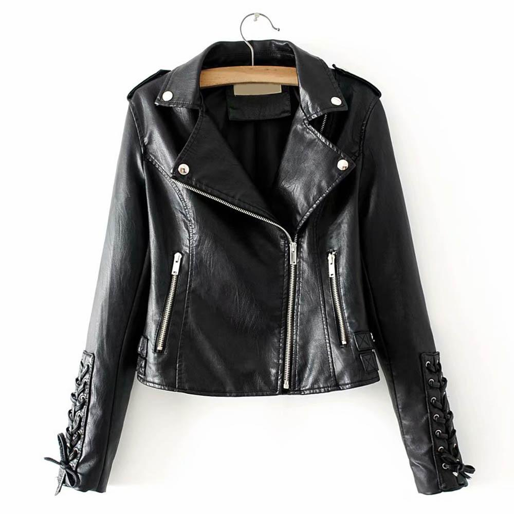 2019 Firstto Stylish Faux Leather Jacket Turn Down Collar Long