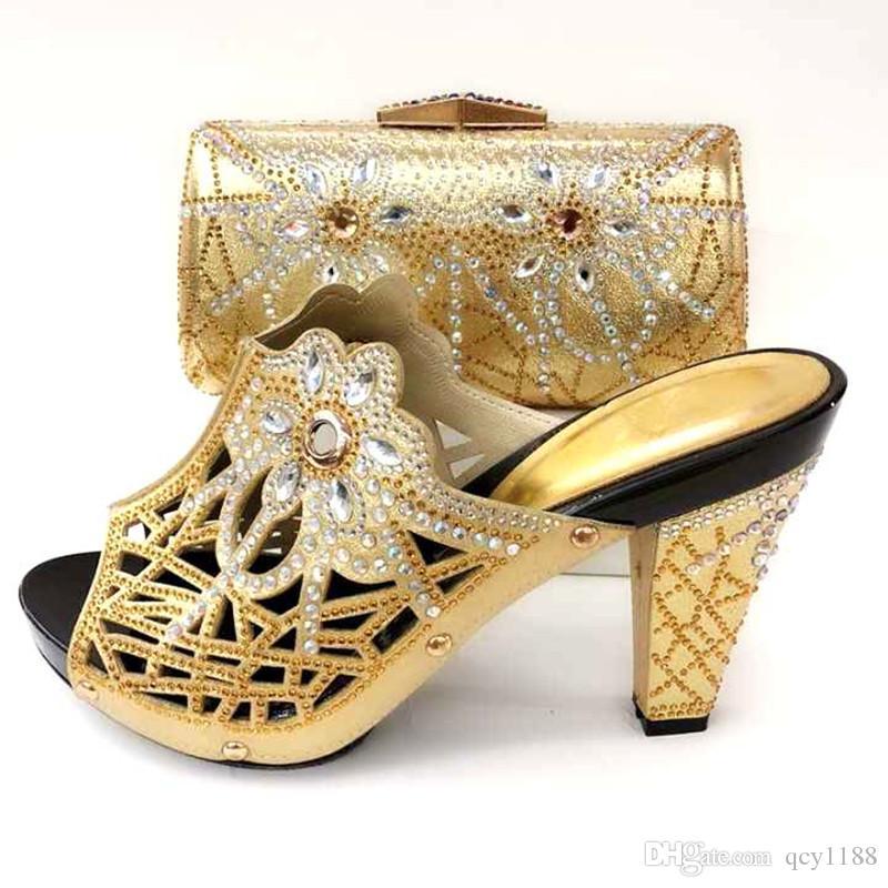 8b6cb74539 Compre Cor De Ouro Italiano Sapato Com Sacos De Correspondência De Alta  Qualidade Sapato Africano E Saco Set Para O Partido Nas Mulheres Casamento  Nigeriano ...