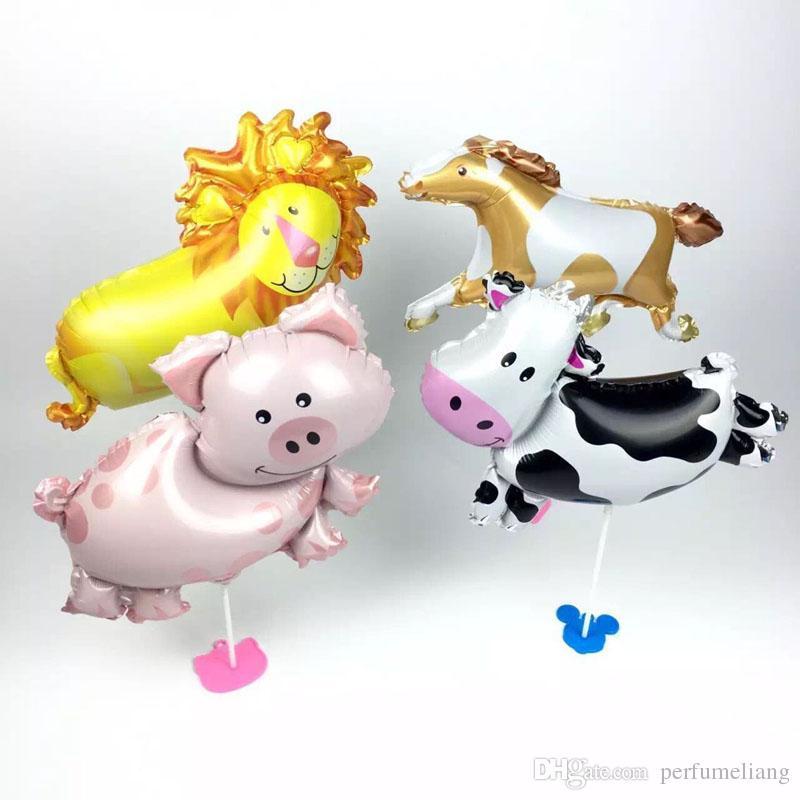 MiNi Vaca Cerdo León Foil Globo Animal Globos Niños Fiesta de Cumpleaños Decoración Baby Shower Suministros ZA6509