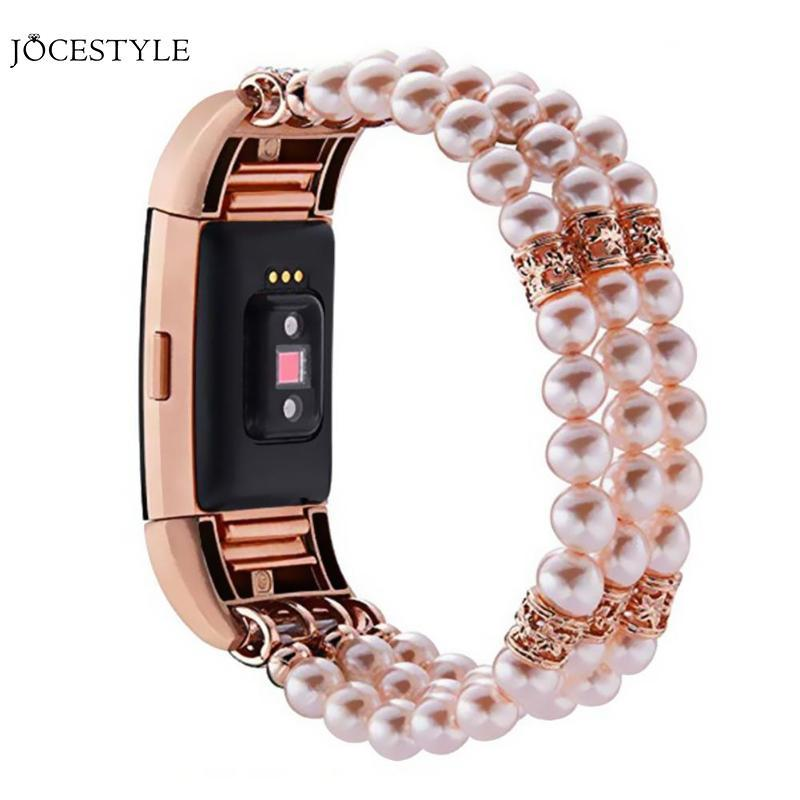 Luxury Pearl Beaded Bracelet Watch Band Women Crystal Diamond Replacement  Strap for Fitbit Charge 2