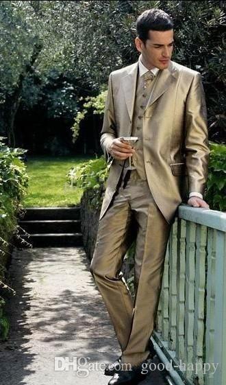 16d590e4fd Moda uomo smoking da sposa oro lucido vestito 3 pezzi smoking dello sposo  uomini di alta qualità formale cena abiti da ballo (giacca pantaloni ...