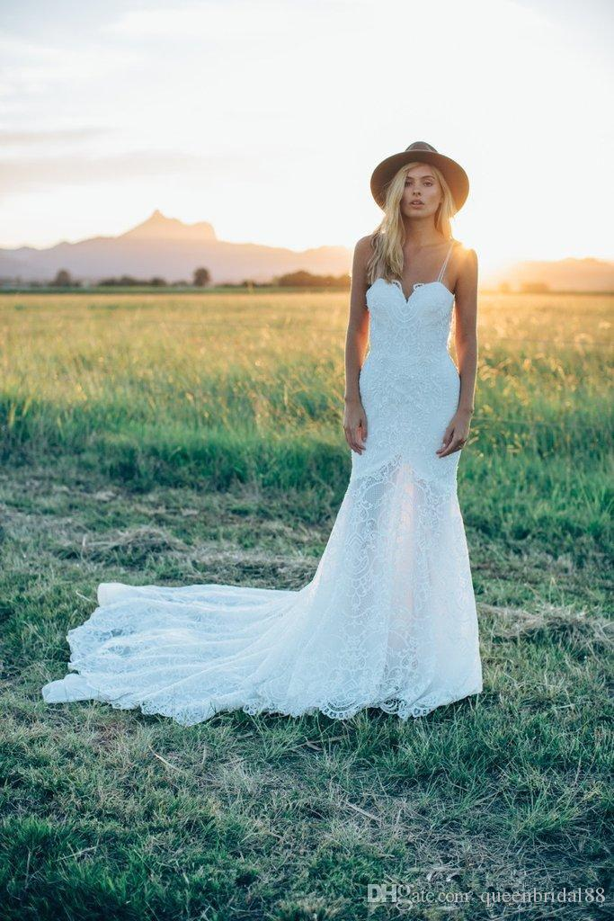 Simple Long Lace Country Wedding Dresses 2019 New Open Back Sweetheart Boho Wedding Gowns for Bride