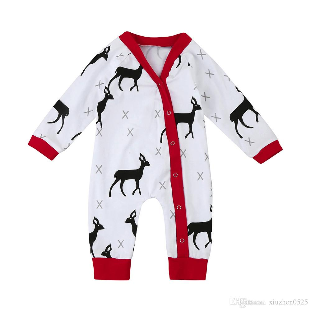 9aa9494a Cute Christmas Baby Boy Clothes Long Sleeve Deer Printed Baby ...