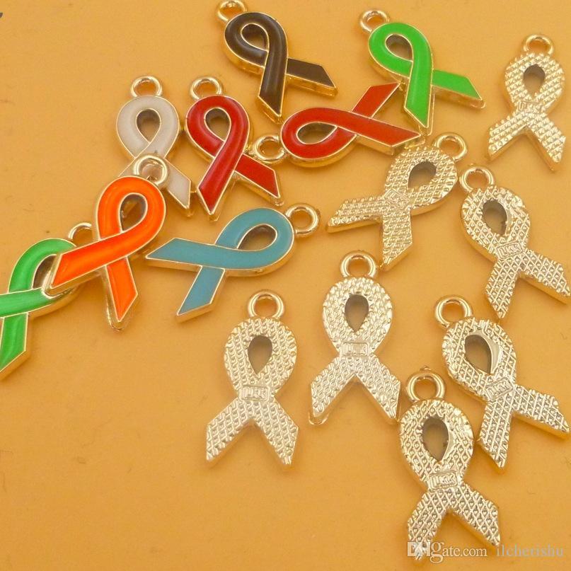 Mix renkler Emaye meme kanseri bilinçlendirme charms karışık moda reçine şerit bilezik kolye diy takı yapımı aksesuarları bulgular