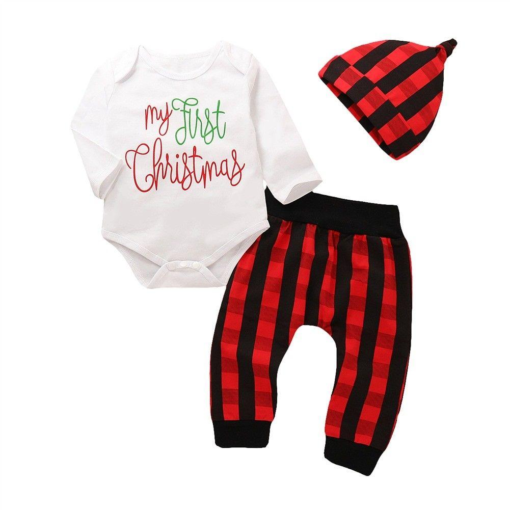 9f0b84d60 2019 2018 Canis Newborn Baby Boy Girls Cotton First Christmas Romper Long Plaid  Red Pants Leggings Outfits Xmas Autumn Set Clothes From Friendhi, ...