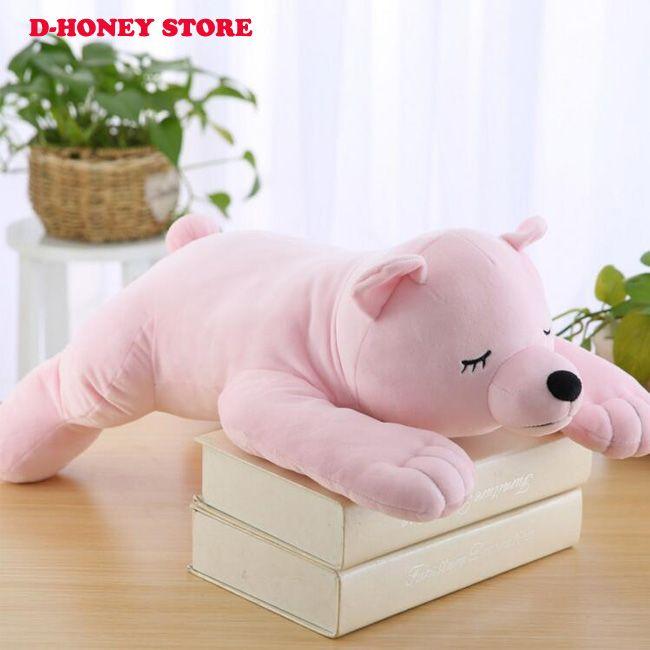 New Sleeping Lying Posture Polar Bear Plush Toy 56*30cm Children Birthday Christmas Present Down Cotton Comfortable
