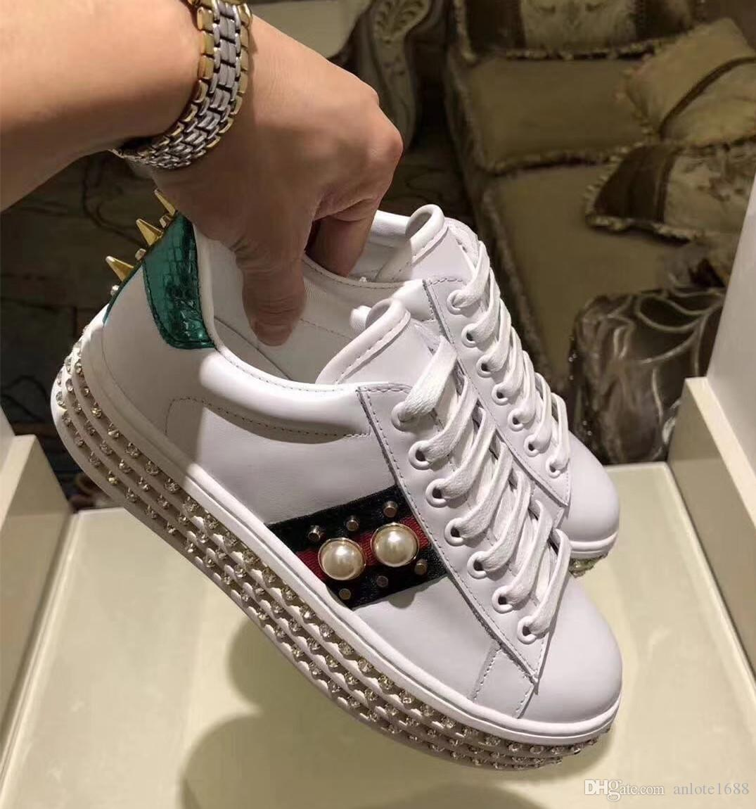 3bb8cd06860 Women Ace Embroidered Sneakers With Crystals Leather Pearl Flats Shoes  Platform Creepers Casual Sport Shoes Original Box Indoor Soccer Shoes  Oxford Shoes .