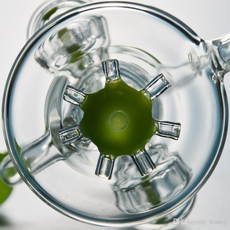Único De Vidro Bong Duplo Reciclador Dab Rigs Hélice Perc Percolador Heady Tubos De Água De Vidro Verde Roxo Plataforma de Petróleo Hélice Waterpipe XL167