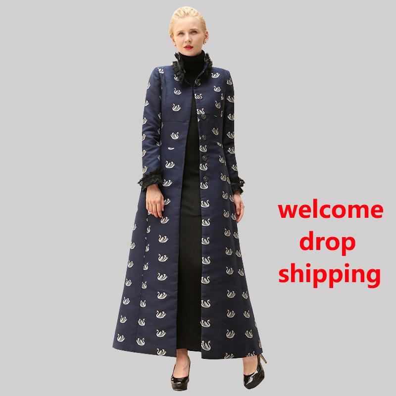 Compre Df Ol Style Fashion Single Breasted Printed Coat Largo Mujeres Otoño  Invierno Navy Abrigo Largo Female Lady Lace Swan Overcoat 6479 A  147.76  Del ... b47bedd2b7b1