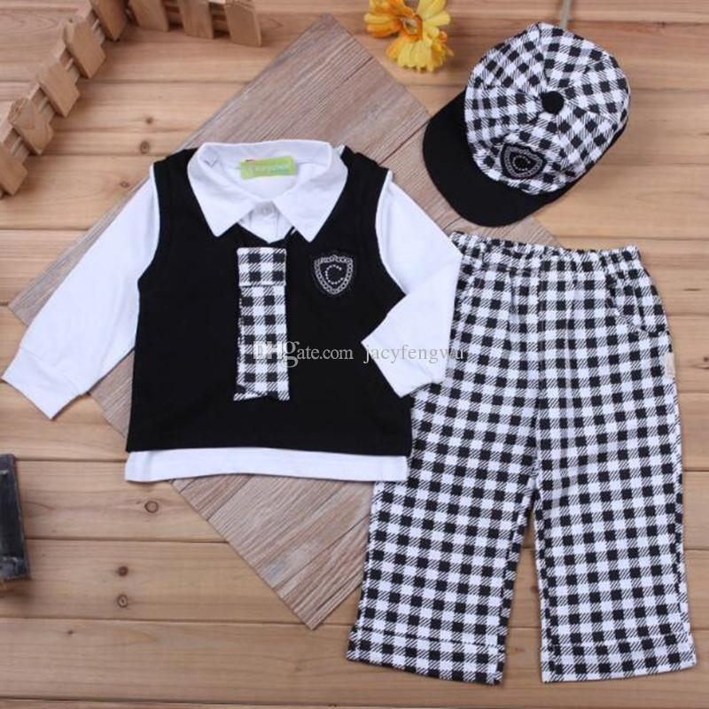f4b551920 Baby Boy Clothing Tees + Vest Gentleman Suit outfit kids causal leisure  sets children cotton baby boys Fall sets CQZ053