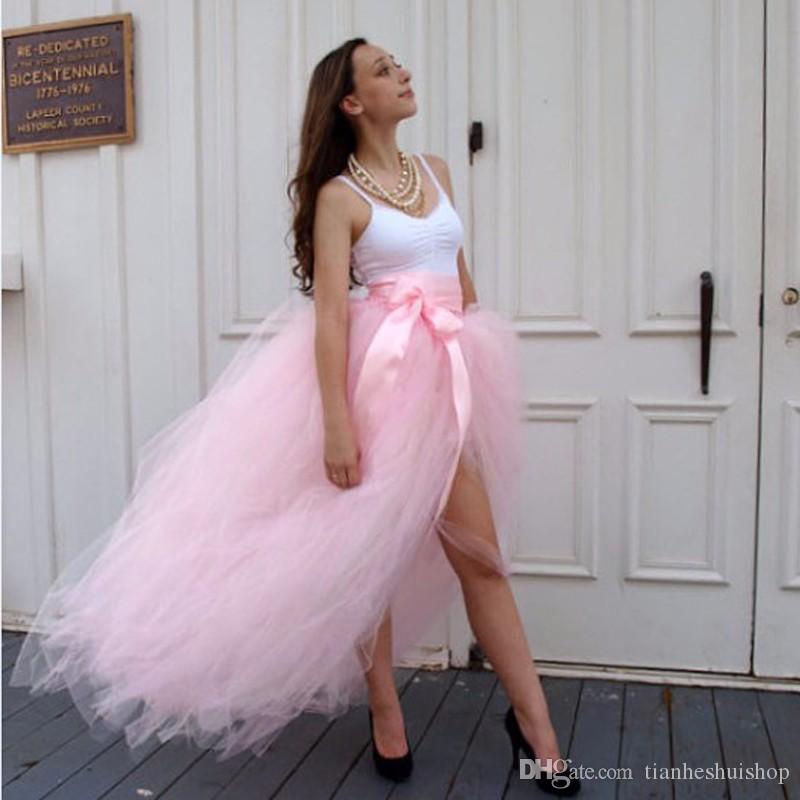 Novo Design Rosa Tule Saia Custom Made Fita Cintura A Linha Até O Chão Maxi Saia Frente Fenda Longa Saias Das Mulheres