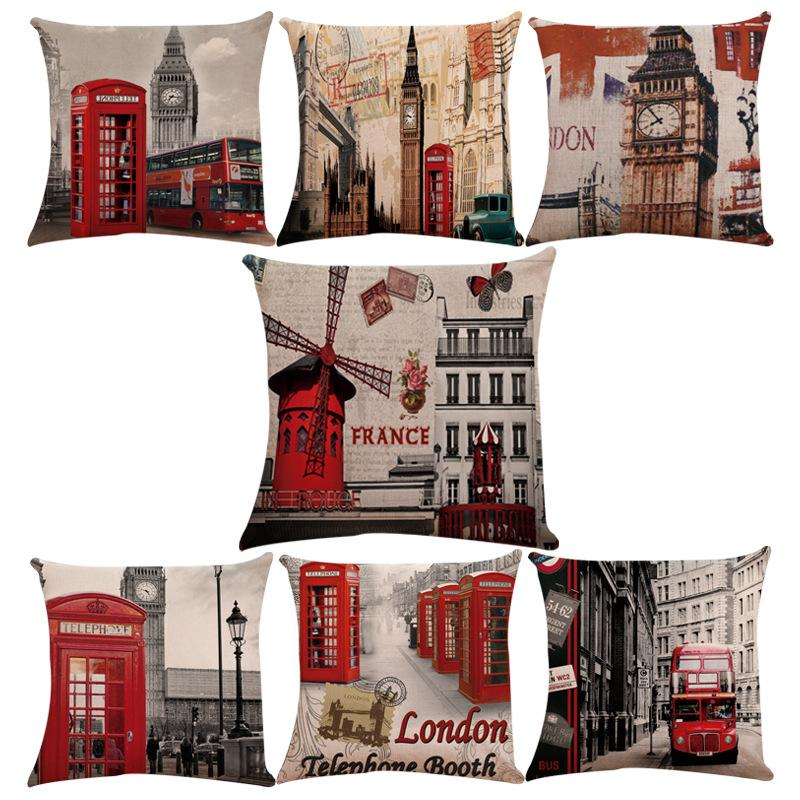 European And American Prints London Buses Big Ben Linen Couches Car