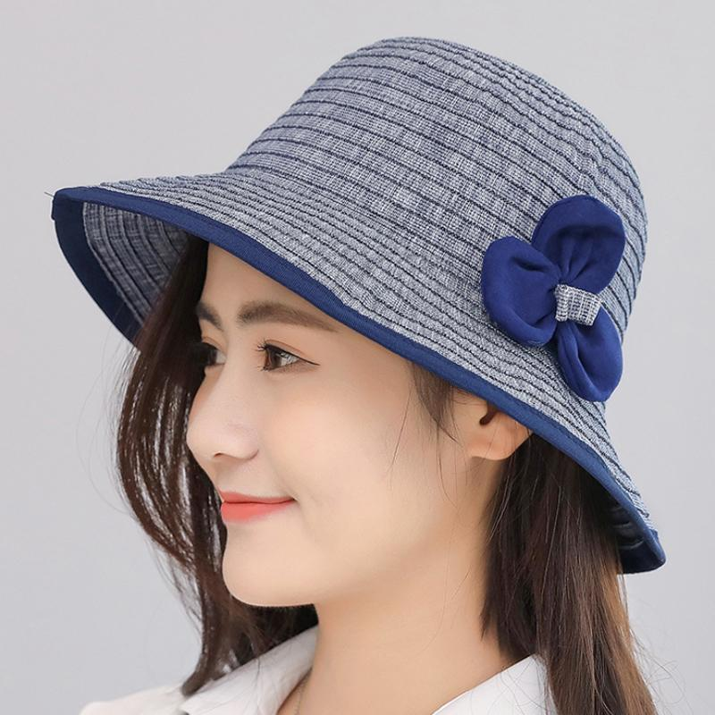 ce76082d71b 2018 New Elegant Girls Flower Belt Striped Summer Hats For Women Panama  Sunhats Beach Hat Bow Opening Bone Cloth Straw Hat Hat Styles Wool Hat From  Haydena