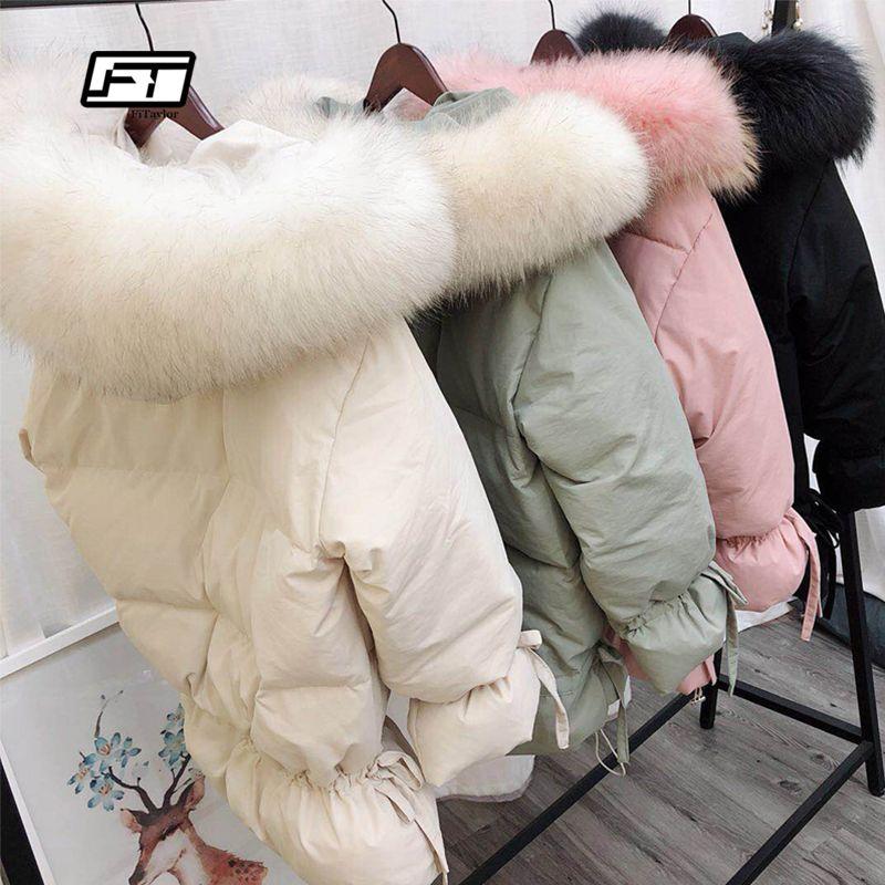 Fitaylor Femmes Hiver Blanc Canard Duvet Parkas Moyen Long Mince Vestes Grand Manteau De Fourrure De Raton Laveur Naturel Rose Outwear