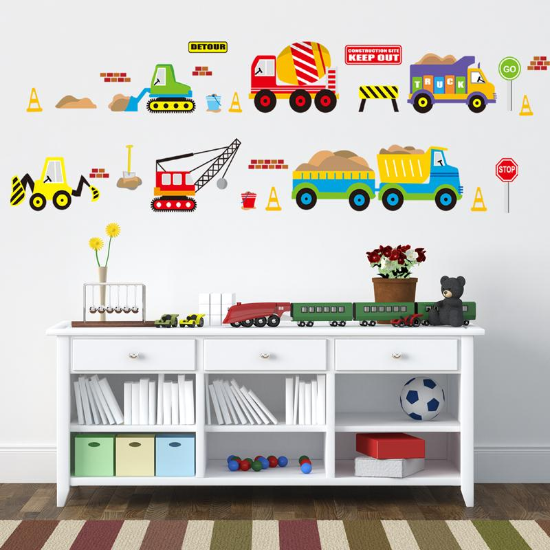 Cartoon cars kids room wall sticker for Children s room baby bedroom wall  decals window poster 3D car stickers wallpaper