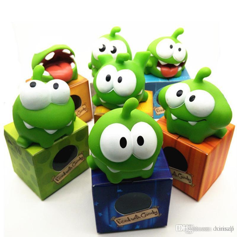 Rope Frog Vinyl Rubber Android Games Doll Cut The Rope OM NOM Candy Gulping Monster Toy Figure with Sound kids toys Creative Christmas gift