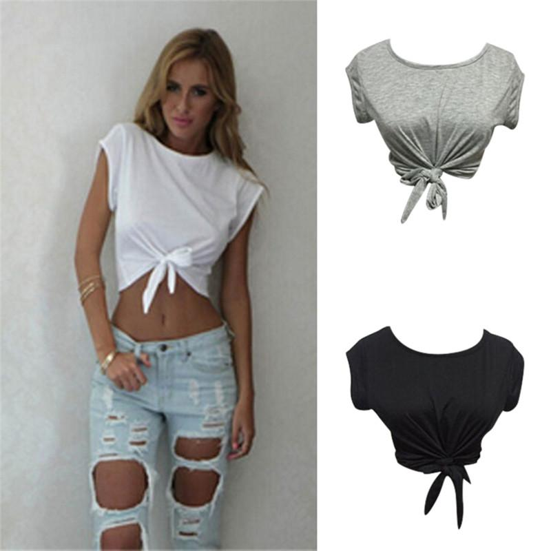 Women Knotted Tie Front Crop Tops Cropped T Shirt Casual Blouse Tanks Camis  White Grey Color UK 2019 From Xuqiuxiang3 722a061ada