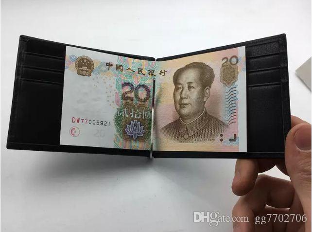 Clásico negro de cuero genuino Bifold Male Purse Billfold billetera Money Clip Hombres Abrazadera para el caso del dinero de lujo titular de la tarjeta de crédito bolsa